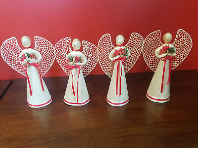 Lot Of 4 Vintage Straw Christmas Cardboard Cone Angels Tree Branch Topper