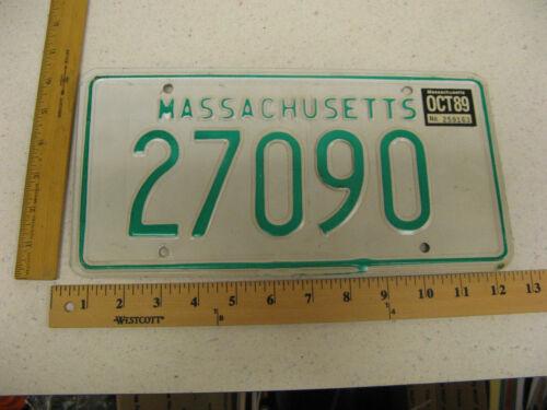 1989 89 MASSACHUSETTS MA MASS LICENSE PLATE #27090 NATURAL STICKER