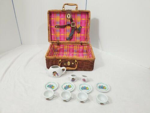 Dora the Explorer Porcelain Tea Set with wicker picnic basket pink checks clasps
