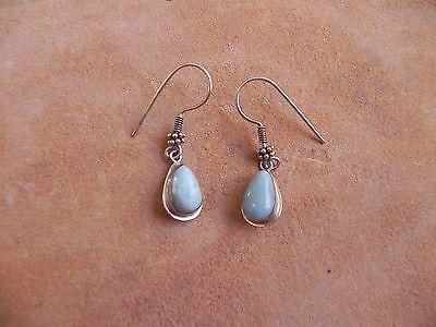 Larimar & Sterling Silver .925 Teardrop shape dangle Earrings
