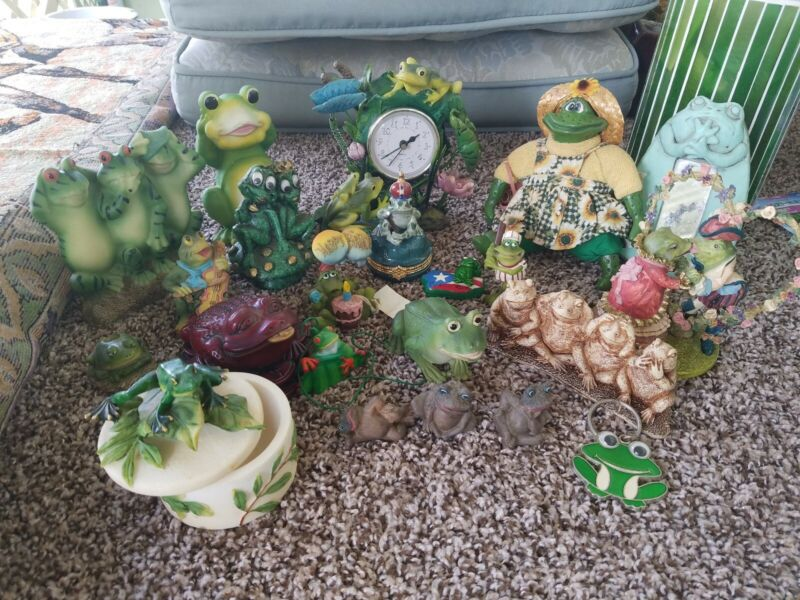 Lot of 22 Frog Figurines of All Sizes, Even Miniature