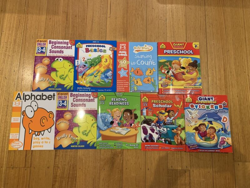 9 x childrens learning books alphabet writing reading sounds