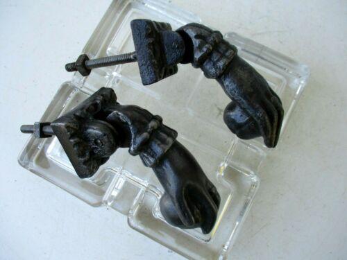 Antique Cast Iron Pair Set Right & Left Ball in Hand Door Knocker Old Hardware