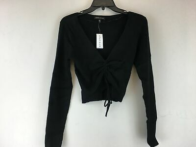 Women's PacSun Kendall & Kylie Long Sleeve Crop Shirt -Size L, Black