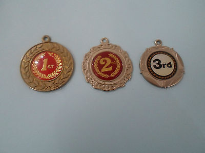 3 Retro Medallions Depicting 1st, 2nd & 3rd ~ Engraved to the rear          (#1)