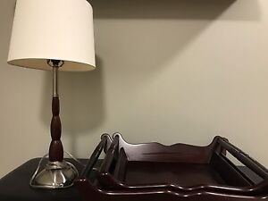Solid wood serving trays and matching lamp, wicker shelf