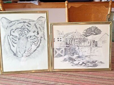 "2 Framed 8x10"" Pencil Drawings--TIGER signed: R. Bellanow '86 & BUNGALOW HOUSES"