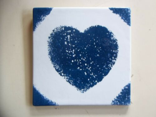 "Blue and White Sponge Pattern Heart 6""x6"" Square Ceramic Tile"