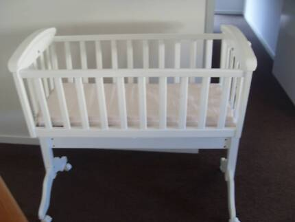 White Wooden Cradle Bed with a Baby Love Ezy Switch Car Seat Jacobs Well Gold Coast North Preview