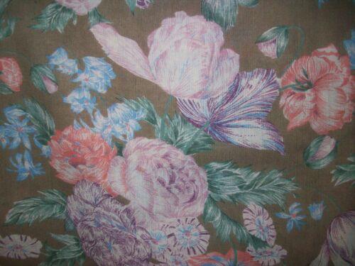 Vintage Couleur International Fabric Large Floral Lightweight Wool 2 Yards+
