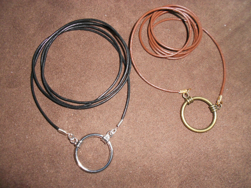Simple Leather eyeglass holder necklace: Black with Chrome double LOOP