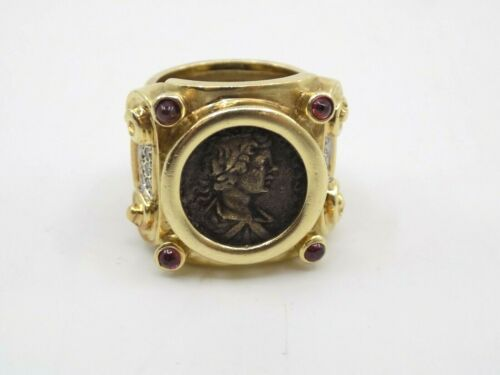 Ancient Roman Coin Ring, 14K Gold, Rubies and Diamonds