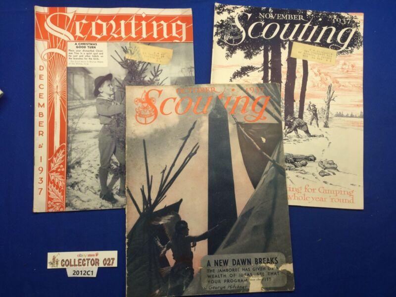Boy Scout 3 1937 Scouting Magazines  Oct Nov Dec