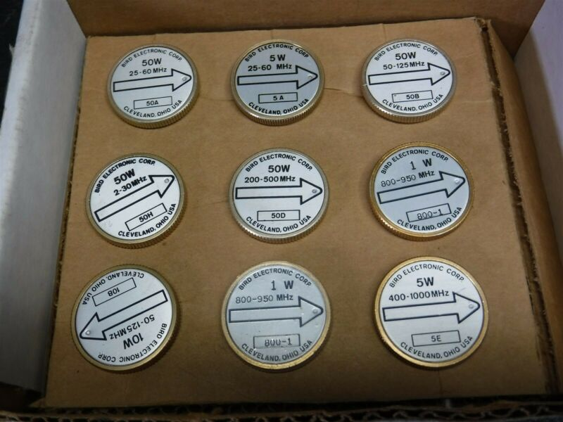 New Old Stock Box of 9 Bird 43 Wattmeter Element Slug 50A 5A 50B 50H 50D  K6