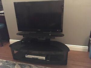TV Stand / 3  Tier Sleek Black Glass Unit