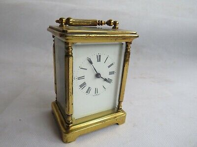 Antique French Carriage Clock Brass Case swiss movement fully Working Order