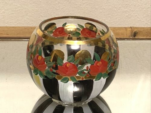 MACKENZIE CHILDS  Glass Globe Votive Vase Hand Painted Round Bowl
