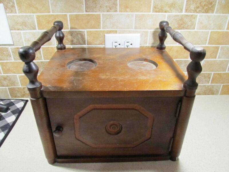 Antique Wooden Humidor Cigar Tobacco Copper Interior