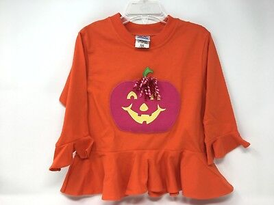 Kelly's Kids Girls Shirt Halloween Pumpkin Applique X-Small 3-4 Orange Monogram - Halloween Monogrammed Shirts