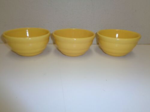 Vintage 40s 30s Bauer Pottery Yellow Small Mixing Bowl Beehive Pattern 36 Lot 3