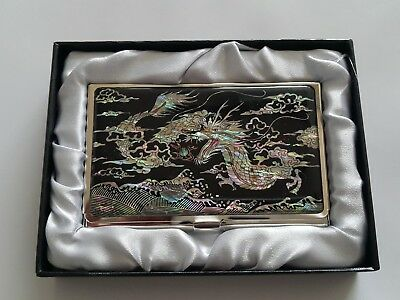 Dragon Design Business Card Stainless Case Card Holder Slim Mother of Pearl