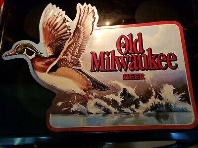Vintage Old Milwaukee Wildlife Metal Sign W/ Lg duck Graphic 25X18 RARE