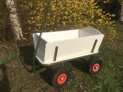 Sturdy Vintage Wooden Garden Trolley Cart Wagon Solid Metal Frame