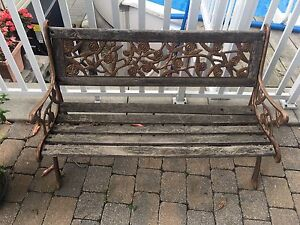 antique outdoor bench and fire pit