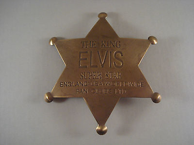 Elvis The King Super Star Solid Brass OLD WESTERN BADGE PIN 112