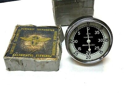 Vintage Stewart Warner Model 757w Portable Hand Tachometer Woriginal Box 1950s