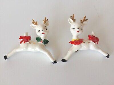 Vtg Lefton boy & girl flirting reindeer Christmas tree clip ornaments Japan](Reindeer Christmas Ornaments)