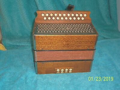 Hohner 2 row Tan Leather Accordion button box Accordeon Germany G/C Vienna used