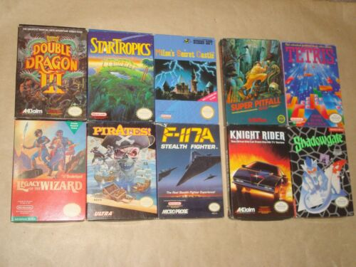 Lot of 10 Nintendo NES games w. boxes Pirates StarTropics Shadowgate Legacy Wiz
