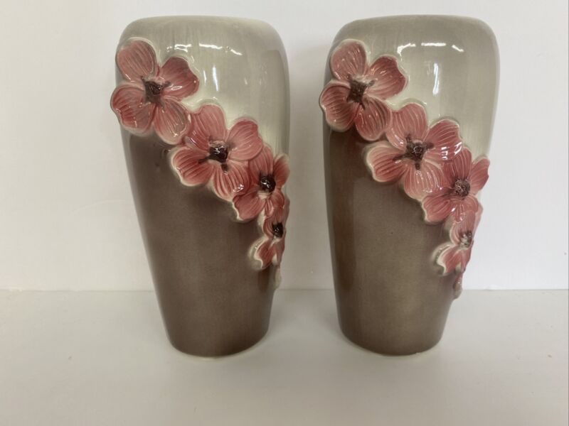 "Vintage Royal Copley Ceramic Dogwood Flower 8 1/4""Vase X2 READ AA015"
