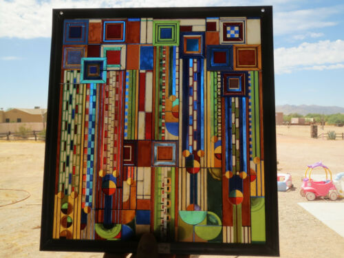 Frank Lloyd Wright Collection~Hanging Stained Glass Window ~Saguaro Forms 11x12""