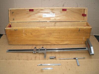 Starrett 24 454 Machinist Height Gauge Includes Depth Attachment Wood Case