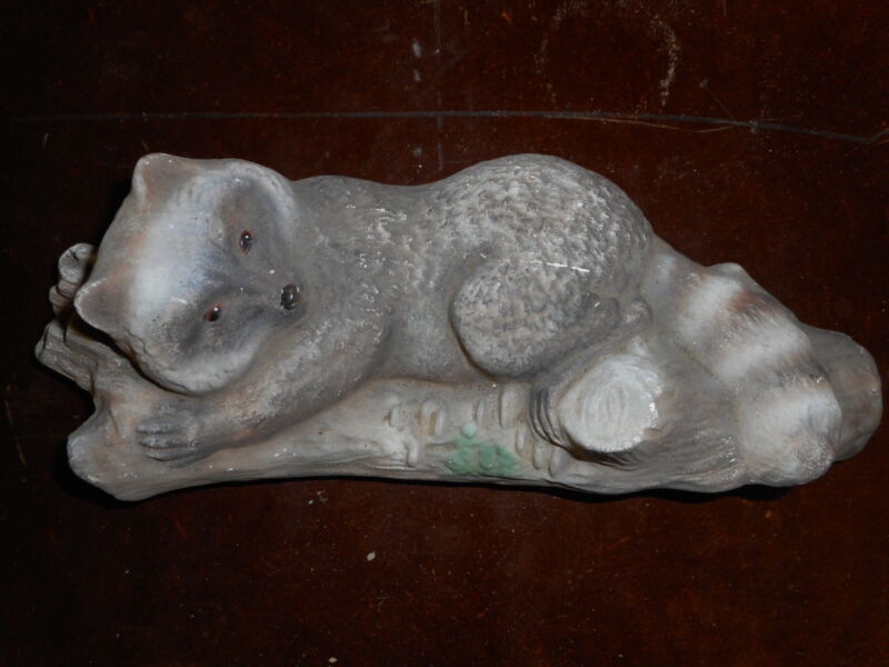 Plaster Raccoon Vintage Decor Flea Market Decor 11 inches