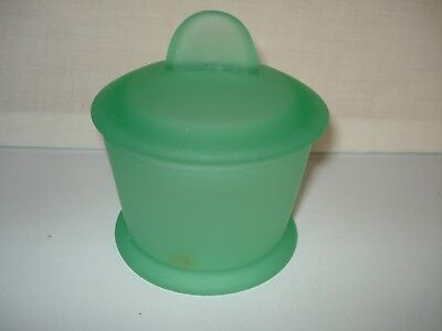 VTG UMBRA PALE GREEN FROSTED GLASS COVERED CONTAINER TRINKET COSMETIC JAR CANDY