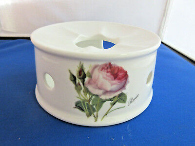 *SALE REDOUTE ROSE TEAPOT WARMER,  MADE ENGLAND ROY KIRKHAM FINE BONE CHINA