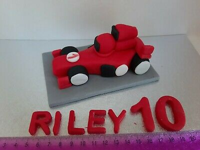 Red Ferrari  F1 Racing Car  Personalised Edible Cake Topper