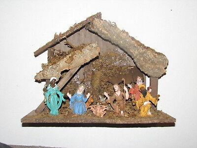 VTG Italian Italy Christmas Nativity Scene Wood Stable Plastic Painted Figures B ()