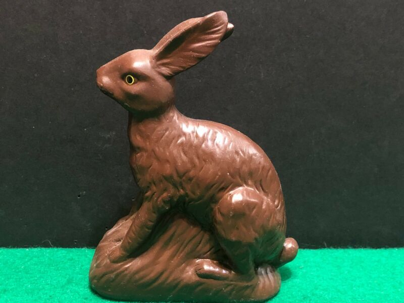 Vintage Easter Bunny Faux Chocolate Resin Figure Holiday Rabbit  Hallmark