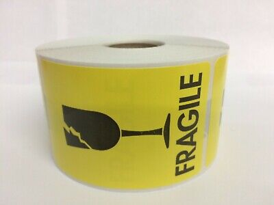 1 Roll Of 2x3 Yellow Black Cracked Glass Fragile 1000 Labels In 1 Core