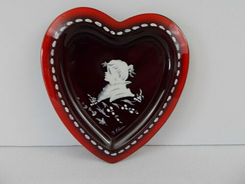 Westmoreland Glass Ruby Mary Gregory Heart shaped small plate, Signed, L. Pleus?