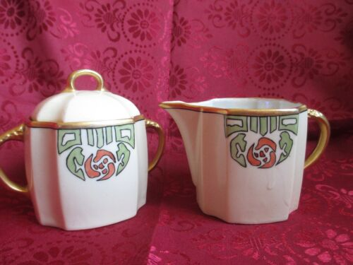 Vintage Creamer & Sugar Bowl Hand Painted Porcelain Germany