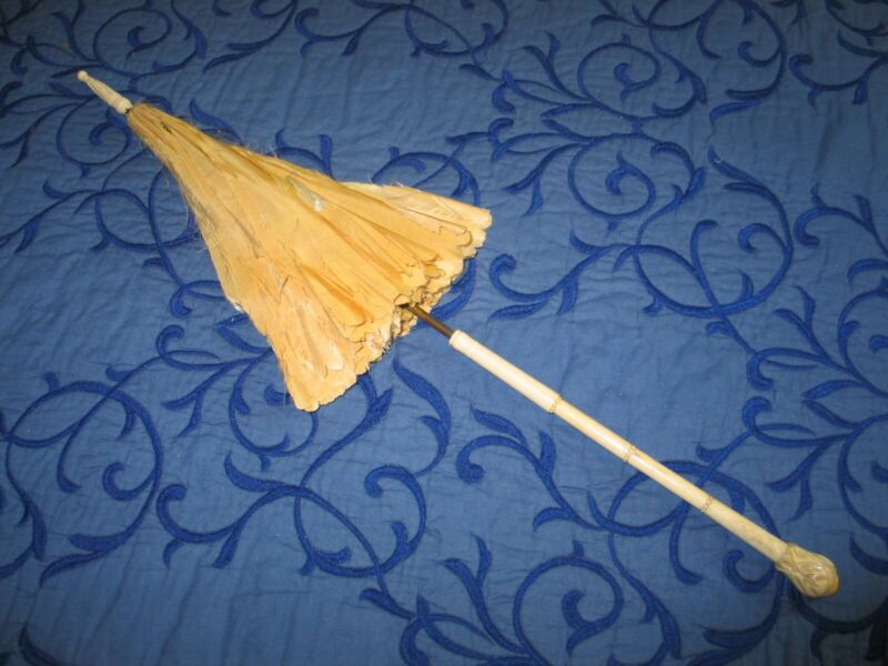 French Antique Carriage Parasol~Umbrella~Carved Handle Bone Bovine-white silk