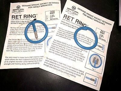 Two Genuine Wright Tool Impact Socket Retainer -ret Ring-6581- Usa- Free Ship