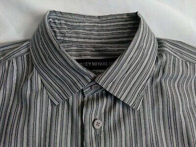 Men's ISSEY MIYAKE Striped Gray & White Shirt Size 4 Made in Japan