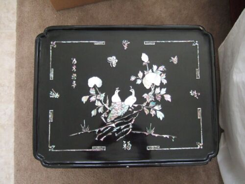 Old (vintage?) Black Lacquer Mother Of Pearl  Korean Tea Table