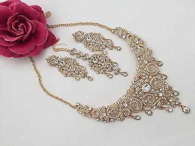 New Indian Bollywood Costume Jewellery Necklace Set Gold Design Wedding Fashion